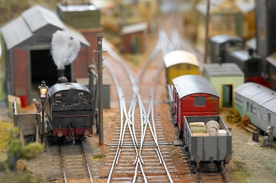 model trains in classification rail yard